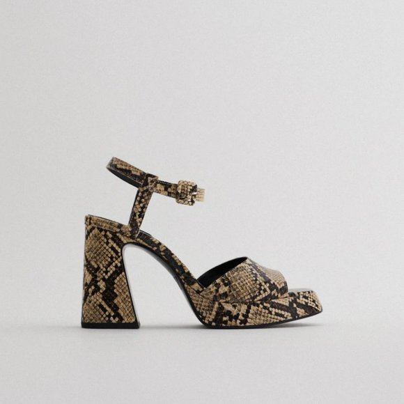 NWT Zara 6.5 Animal Print Heeled Platform Sandals